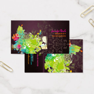 PixDezines retro floral + merlot Business Card