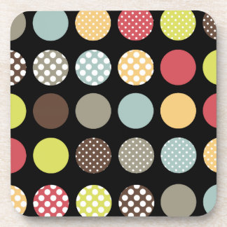 PixDezines Retro Polka Dots/DIY background color Coaster
