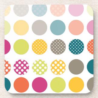 PixDezines Retro Polka Dots/DIY background color Coasters