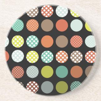 PixDezines Retro Polka Dots/DIY background color! Drink Coaster