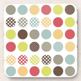 PixDezines Retro Polka Dots/DIY background color Drink Coasters
