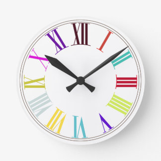 PixDezines Roman Numeros/DIY background color Round Clock