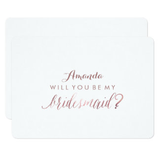 PixDezines Rose Gold Will You Be My Bridesmaid 13 Cm X 18 Cm Invitation Card