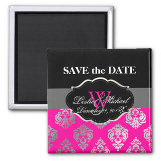 PixDezines Rossellini Damask, Faux Silver+Pink Square Magnet