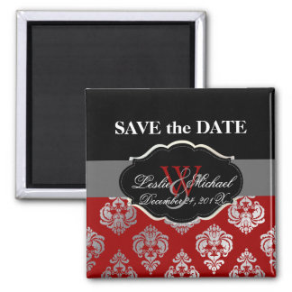 PixDezines Rossellini Damask, Faux Silver+Red Square Magnet