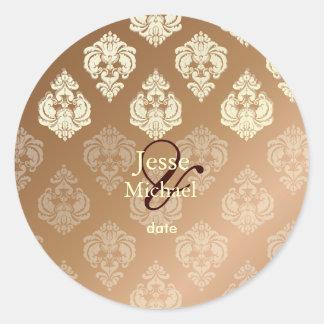 PixDezines Rossellini Damask Round Sticker