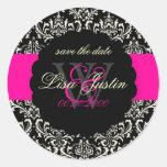 PixDezines Rossi Damask/Black+Hot Pink Round Sticker