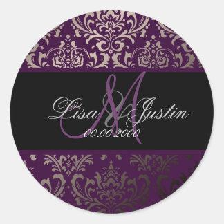 PixDezines Rossi Damask, monogram/DIY color! Round Sticker