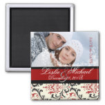 PixDezines Rossi Damask, Photo Save Date Square Magnet