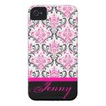PixDezines Rossi Damask/Pink+Black/DIY colour Case-Mate iPhone 4 Cases