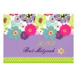 PixDezines rsvp/Alegre retro floral, Bat Mitzvah Announcement