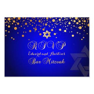 PixDezines RSVP, BAR MITZVAH+GOLD CONFETTI Card