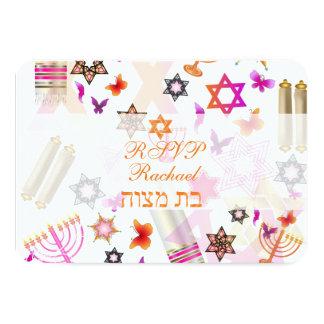 PixDezines rsvp bat mitzvah/collage 9 Cm X 13 Cm Invitation Card