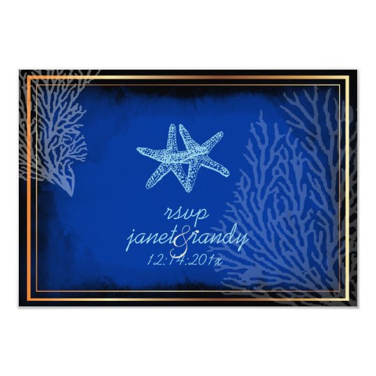PixDezines rsvp blue starfish+coral/diy colour Card
