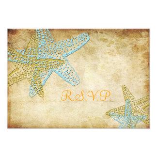 PixDezines rsvp blue starfish vintage background Invitation