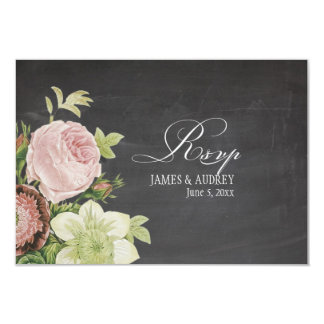 PixDezines rsvp chalkboard+vintage roses 9 Cm X 13 Cm Invitation Card