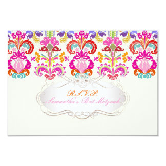 PixDezines rsvp color Isabella damask/bat mitzvah 9 Cm X 13 Cm Invitation Card