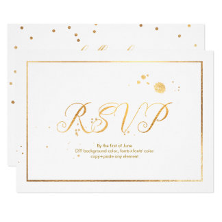PixDezines RSVP Dazzled/Faux Gold/DIY Background Card