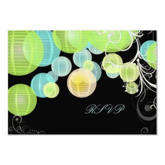 PixDezines rsvp green+blue lanterns 9 Cm X 13 Cm Invitation Card