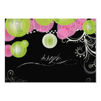 PixDezines rsvp green+pink lanterns/ 9 Cm X 13 Cm Invitation Card