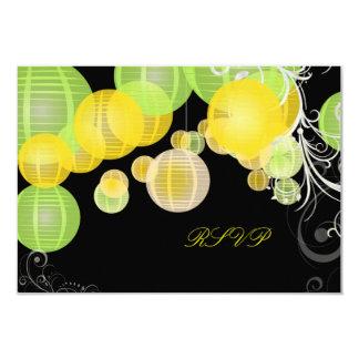 PixDezines rsvp green+yellow lanterns 9 Cm X 13 Cm Invitation Card