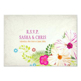 PixDezines rsvp hibiscus+fern 9 Cm X 13 Cm Invitation Card