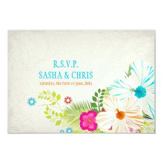 """PixDezines rsvp hibiscus+fern 3.5"""" X 5"""" Invitation Card"""