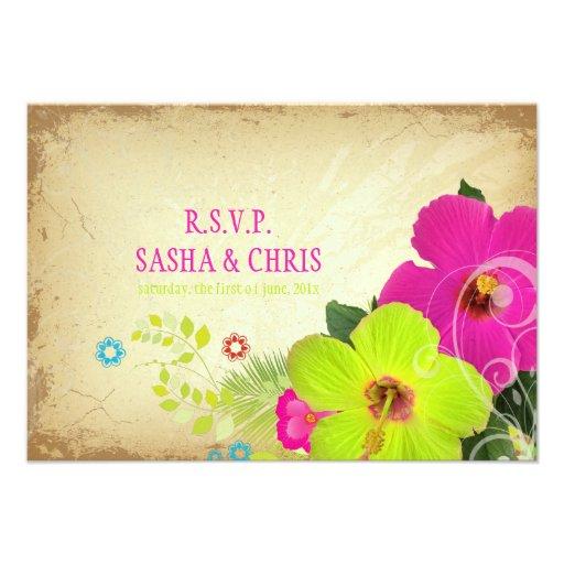 PixDezines rsvp hibiscus+fern Custom Invite
