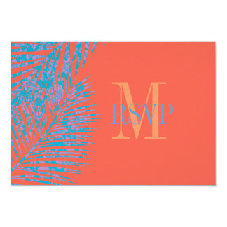 PixDezines rsvp hula fronds/diy coral background Card