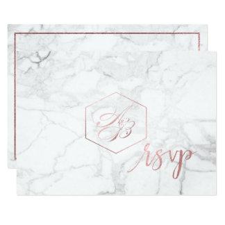PixDezines RSVP Marble/Faux Rose Gold Foil Card