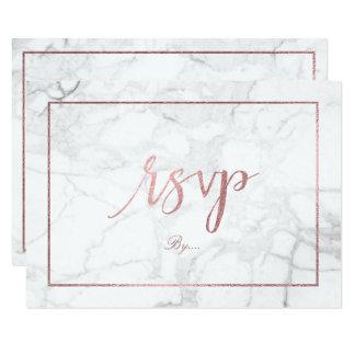 PixDezines RSVP Marble/Faux Rose Gold Monograms Card