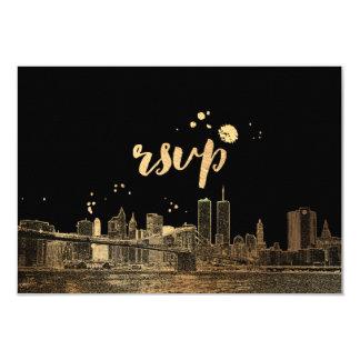 PixDezines RSVP NYC Skyline/Faux Gold 9 Cm X 13 Cm Invitation Card