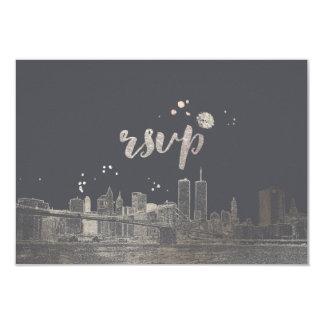 PixDezines RSVP NYC Skyline/Faux Silver 9 Cm X 13 Cm Invitation Card
