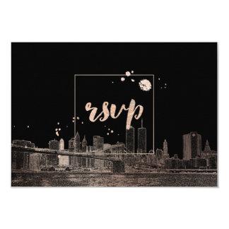 PixDezines RSVP NYC/Twin Tower/Pink Gold/DIY color 9 Cm X 13 Cm Invitation Card