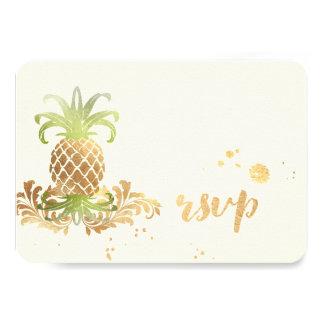 PixDezines RSVP Pineapples/Faux Gold Brush Strokes 9 Cm X 13 Cm Invitation Card