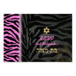 PixDezines rsvp Pink Zebra Stripes, Bat Mitzvah 9 Cm X 13 Cm Invitation Card