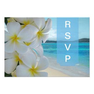 PixDezines rsvp Plumeria Lei /beach Custom Invite