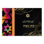 PixDezines rsvp Psychedelic Stars, Bat Mitzvah 9 Cm X 13 Cm Invitation Card
