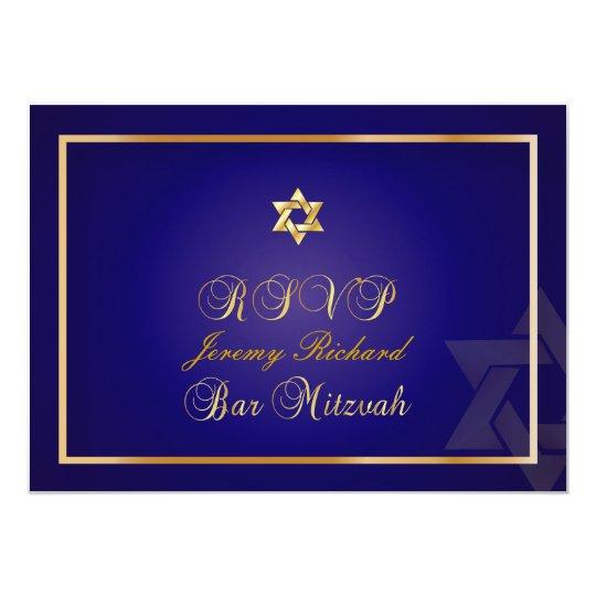 PixDezines rsvp Star, Bar Mitzvah/navy blue+gold Card