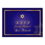 PixDezines rsvp Star, Bar Mitzvah/navy blue+gold Invitations