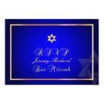 PixDezines rsvp Star, Bar Mitzvah/royal blue+gold Invites