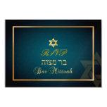 PixDezines rsvp Star, Bar Mitzvah/teal+gold Personalised Announcement