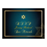 PixDezines rsvp Star, Bar Mitzvah/teal+gold Custom Invite