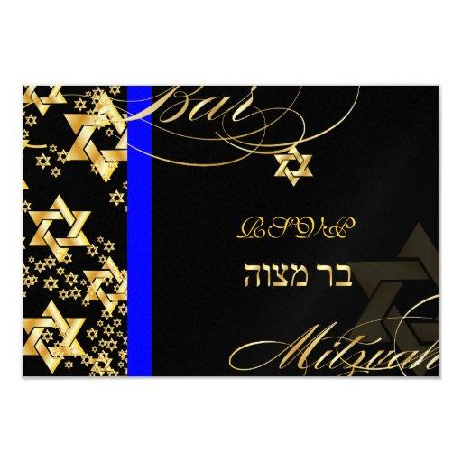 PixDezines rsvp Star of David, Bar Mitzvah 9 Cm X 13 Cm Invitation Card