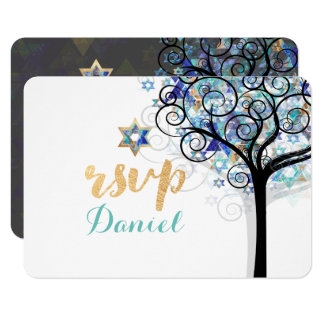 PixDezines rsvp tree of life Bat Mitzvah 9 Cm X 13 Cm Invitation Card