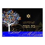 PixDezines rsvp tree of life+stars, Bat Mitzvah 9 Cm X 13 Cm Invitation Card