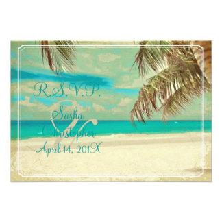 PixDezines rsvp vintage beach tropical paradise Invitations