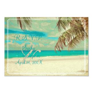PixDezines rsvp vintage beach, tropical paradise Invitations