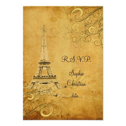 PixDezines rsvp Vintage Eiffel Tower + swirls Personalized Invitations