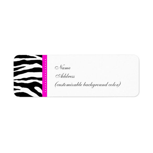 PixDezines Safari, white + black, zebra Return Address Label
